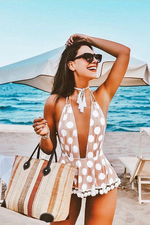 Polka Dots Pom-Pom Plunge Neck Halter One Piece Swimsuit