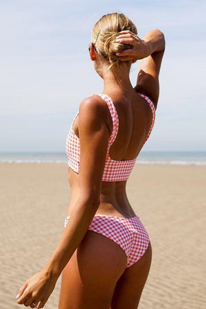 Red Gingham Cropped Bikini Top (2190537982011)