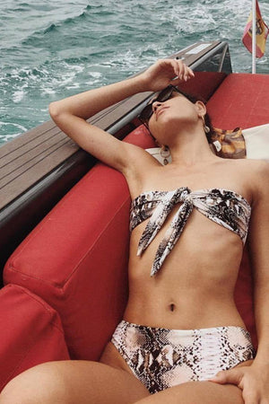 Snakeskin Print High Waisted Bikini Bottom (2198382051387)