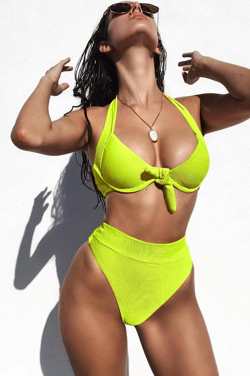 Neon Yellow Ribbed Tie Front Underwire Halter Bikini Top