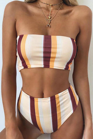 Striped Bandeau Bikini Top (2213160747067)