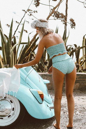 Light Blue Floral Ruffle Trim High Waist Bikini Bottom
