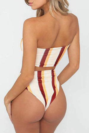 Striped High Waisted Bikini Bottom (2213141119035)