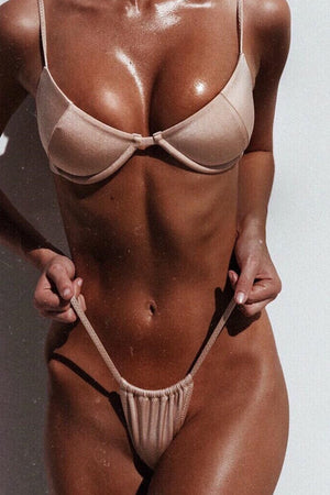 Metallic Flax Brazilian String Bikini Bottom
