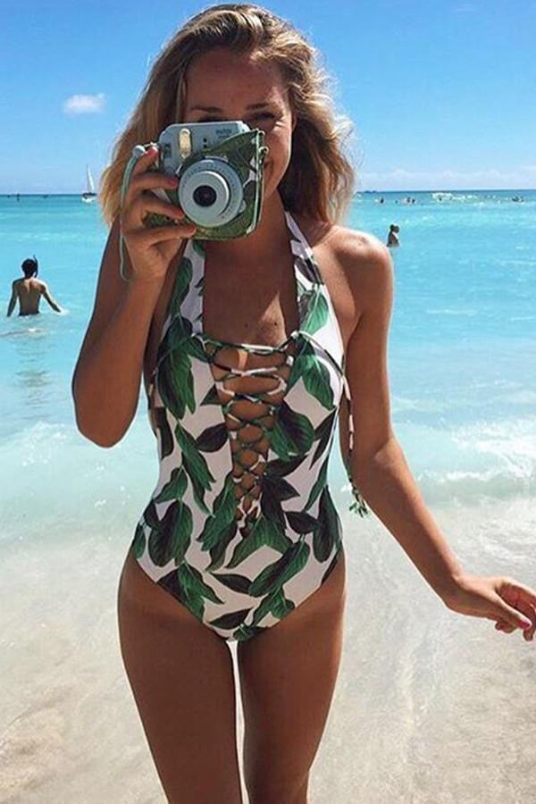 Floralkini White Leaf Print Criss Cross Lace Up Neck One Piece Swimsuit