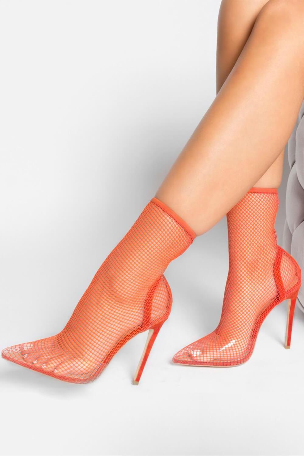 Red Clear Perspex Fishnet Ankle Sock Heels