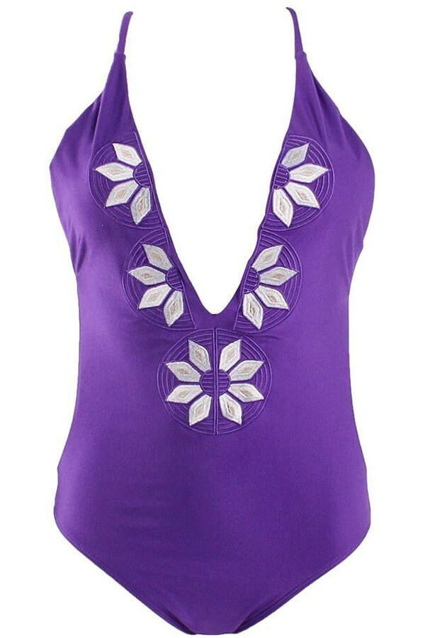 Floralkini Embroidered Cami One-Piece Swimwear