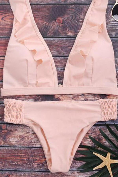 Floralkini Striped Triangle Halter Bikini Set