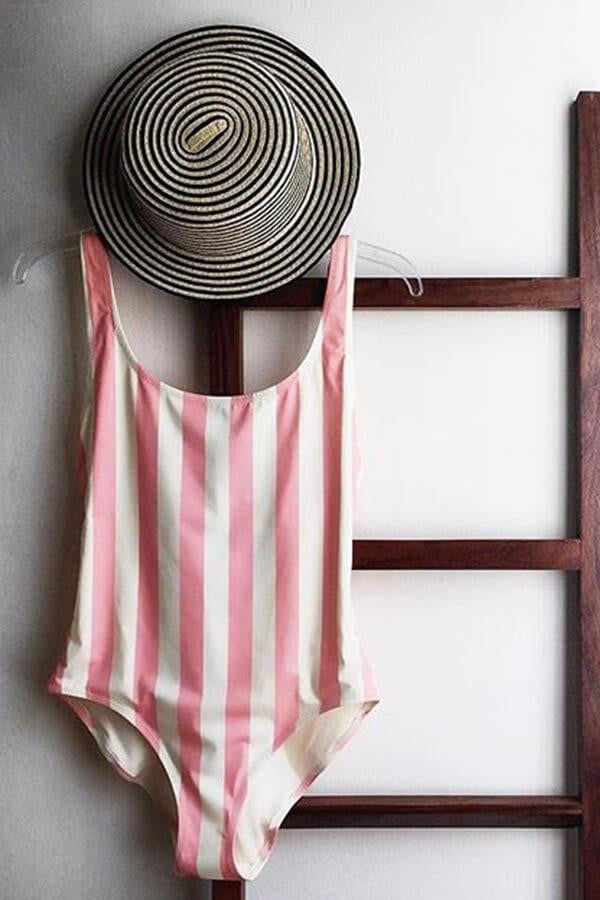 Floralkini Pink Striped Deep V Neck One Piece Swimsuit - FloralKini (10778015694)