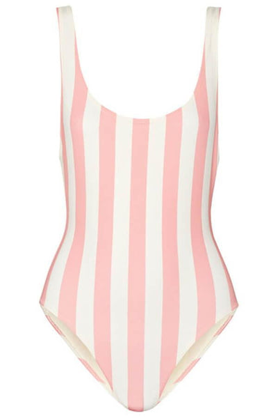 Floralkini Pink Striped Deep V Neck One Piece Swimsuit - FloralKini
