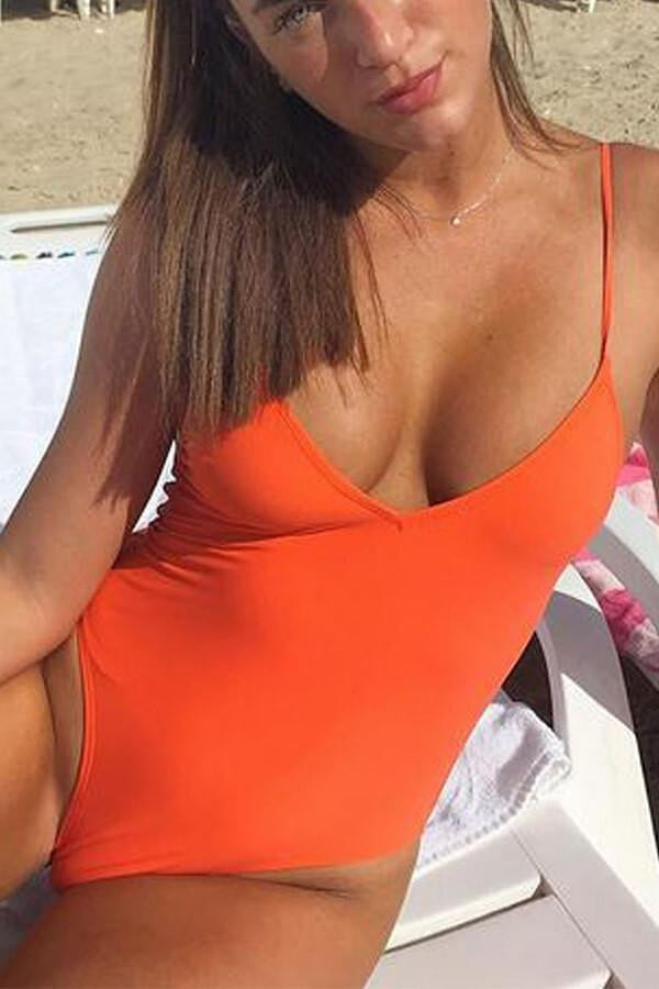 Floralkini Solid Color Cross Back High Leg One Piece Swimsuit