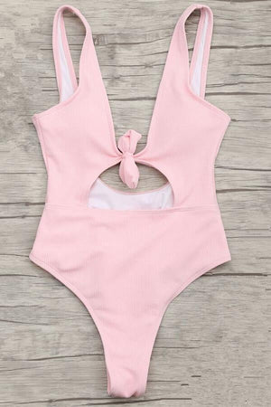 Floralkini Solid Color Knot Cut Out One Piece Swimsuit