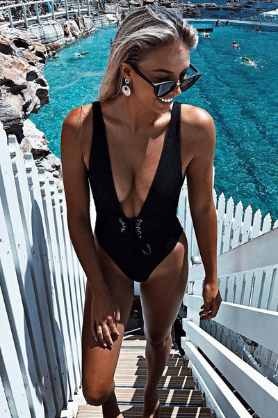 Floralkini Plunge Knot Front One Piece Swimsuit