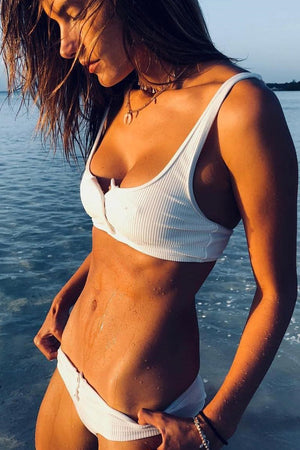 White Ribbed Button Front Cropped Bikini Top (1470947426363)