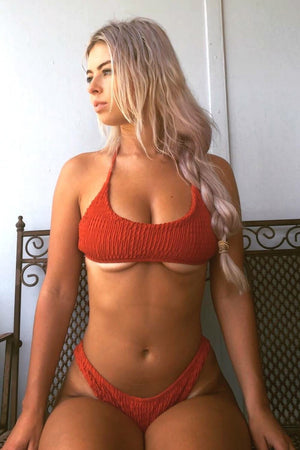 Orange Red Smocked Halter Bikini Top (1920000983099)
