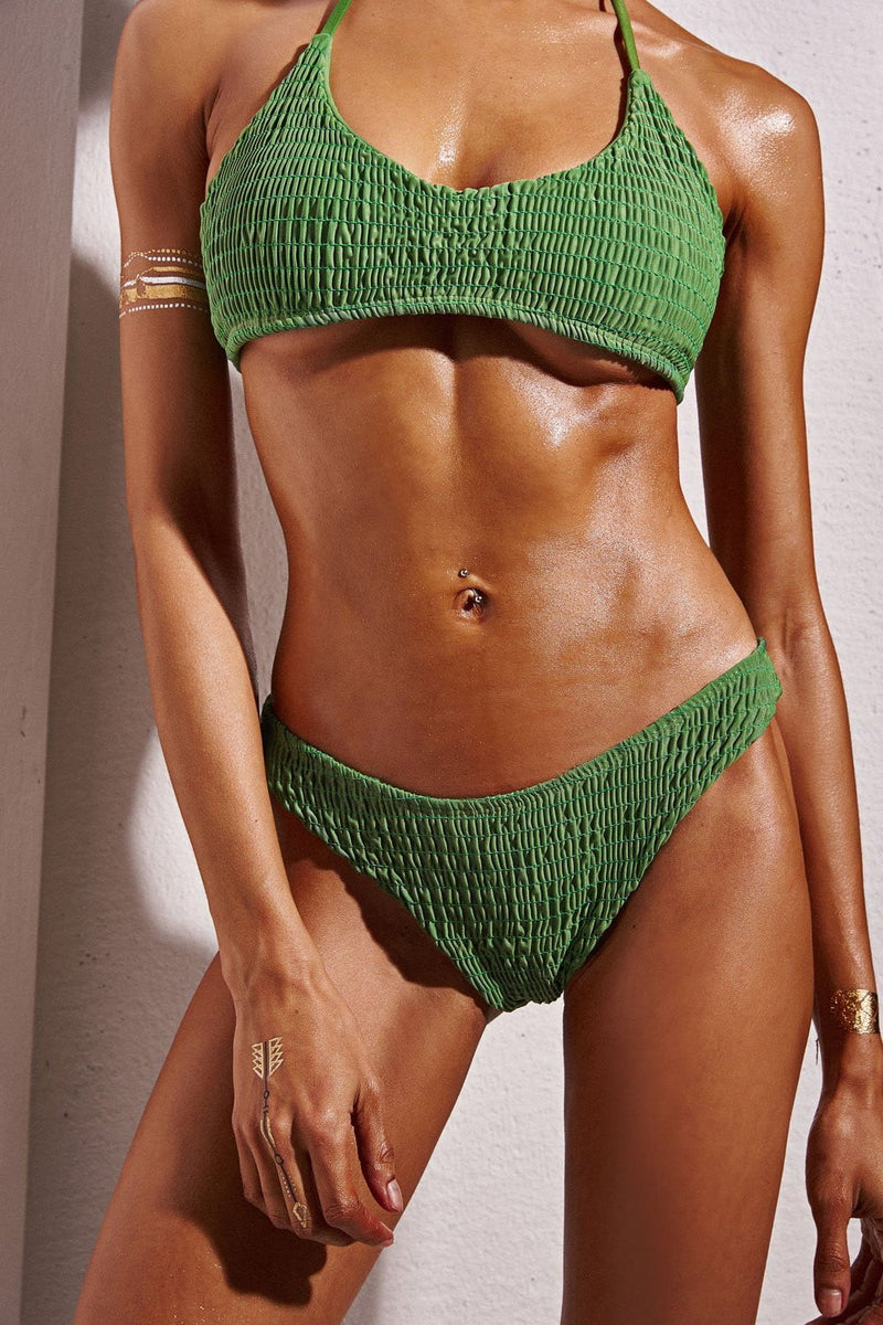 FOREST GREEN SMOCKED HALTER BIKINI TOP