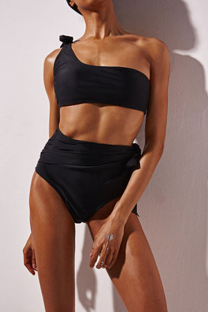 FLORALKINI BLACK ONE SHOULDER SWIM CROP