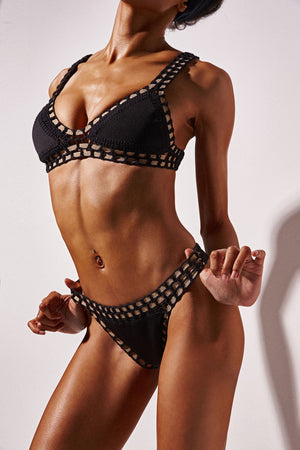 Black Handmade Crochet Reversible Triangle Bikini Top