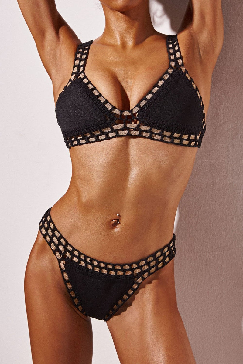 FLORALKINI BLACK HANDMADE CROCHET REVERSIBLE TRIANGLE BIKINI TOP