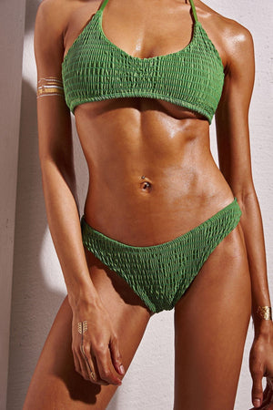 FLORALKINI FOREST GREEN SMOCKED BIKINI BOTTOMS