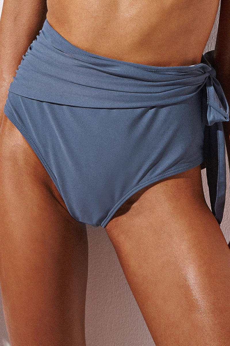 Light Slate Gray High Waist Tie Detail Bikini Bottoms