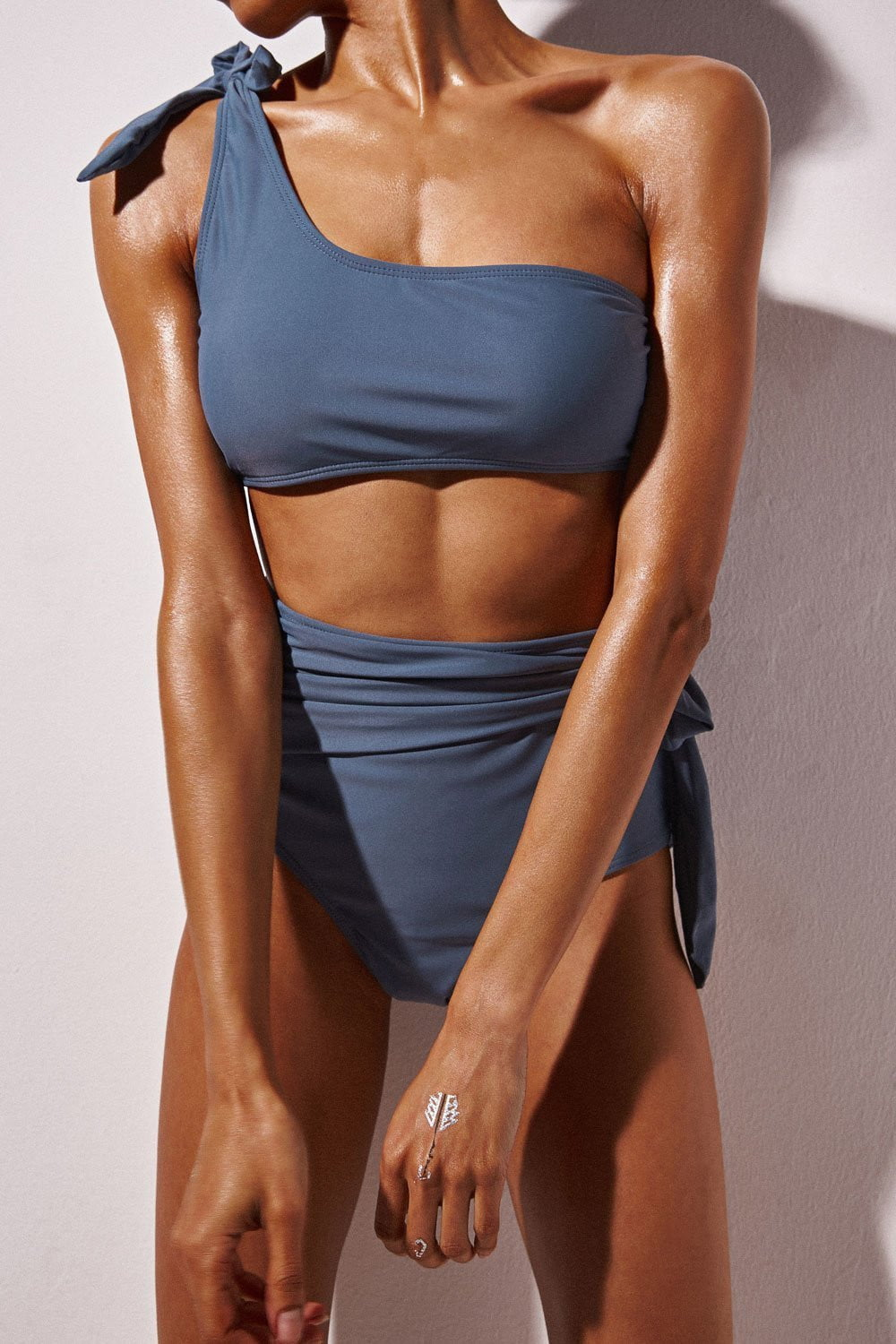 Light Slate Gray One Shoulder Swim Crop