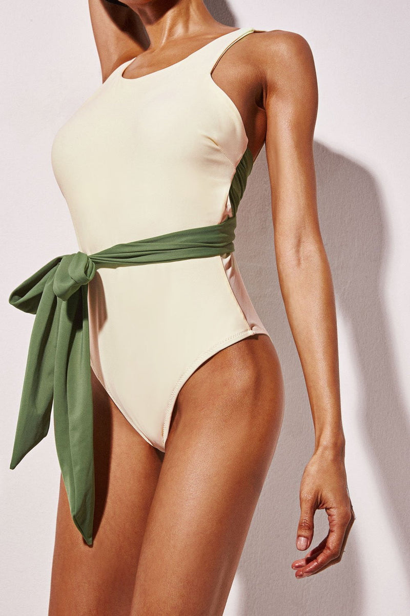 Beige Cross Back Tie Front One Piece Swimwear (1920012124219)