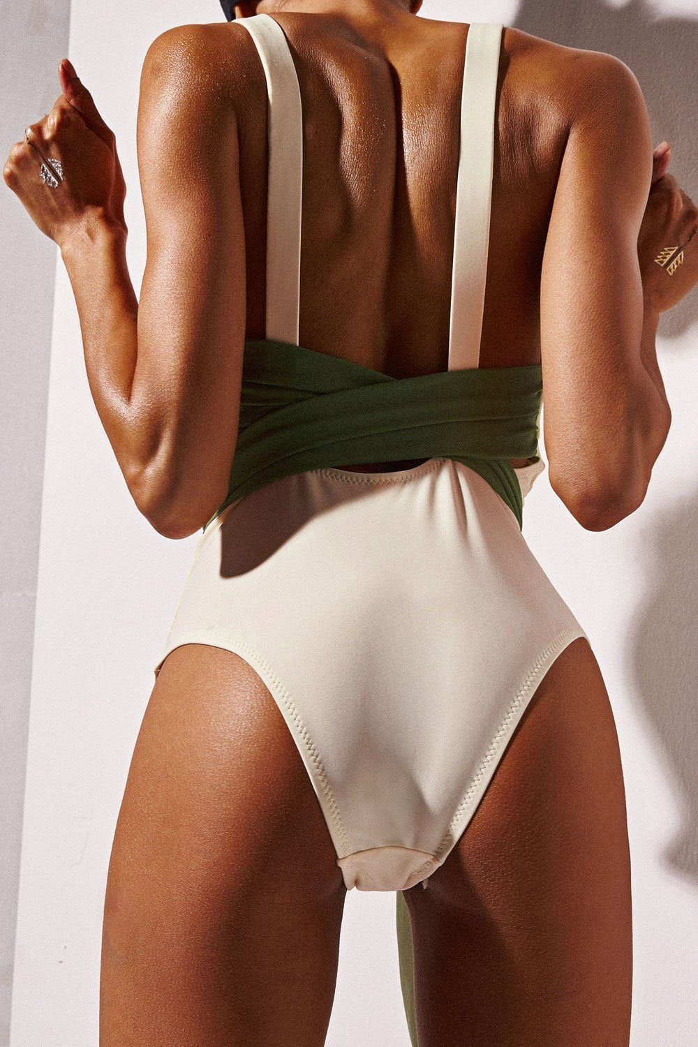BEIGE CROSS BACK TIE FRONT ONE PIECE SWIMWEAR