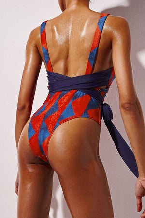 Cross Back Tie Front One Piece Graphic Swimwear (1920012582971)