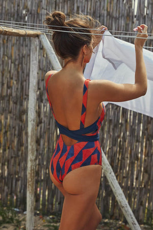 Cross Back Tie Front One Piece Graphic Swimwear