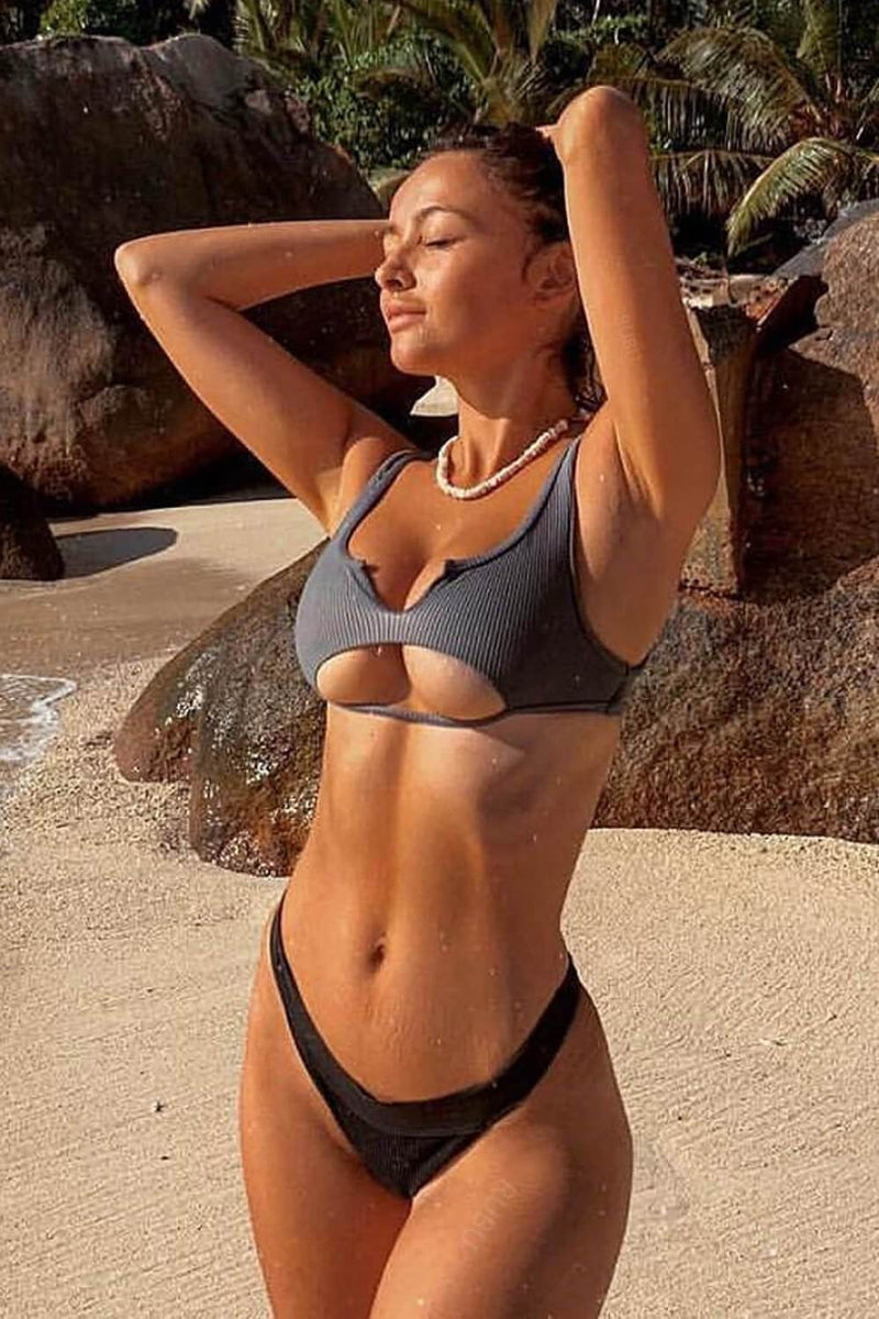 Black Ribbed Peek-a-Boo Cutout Bikini Top