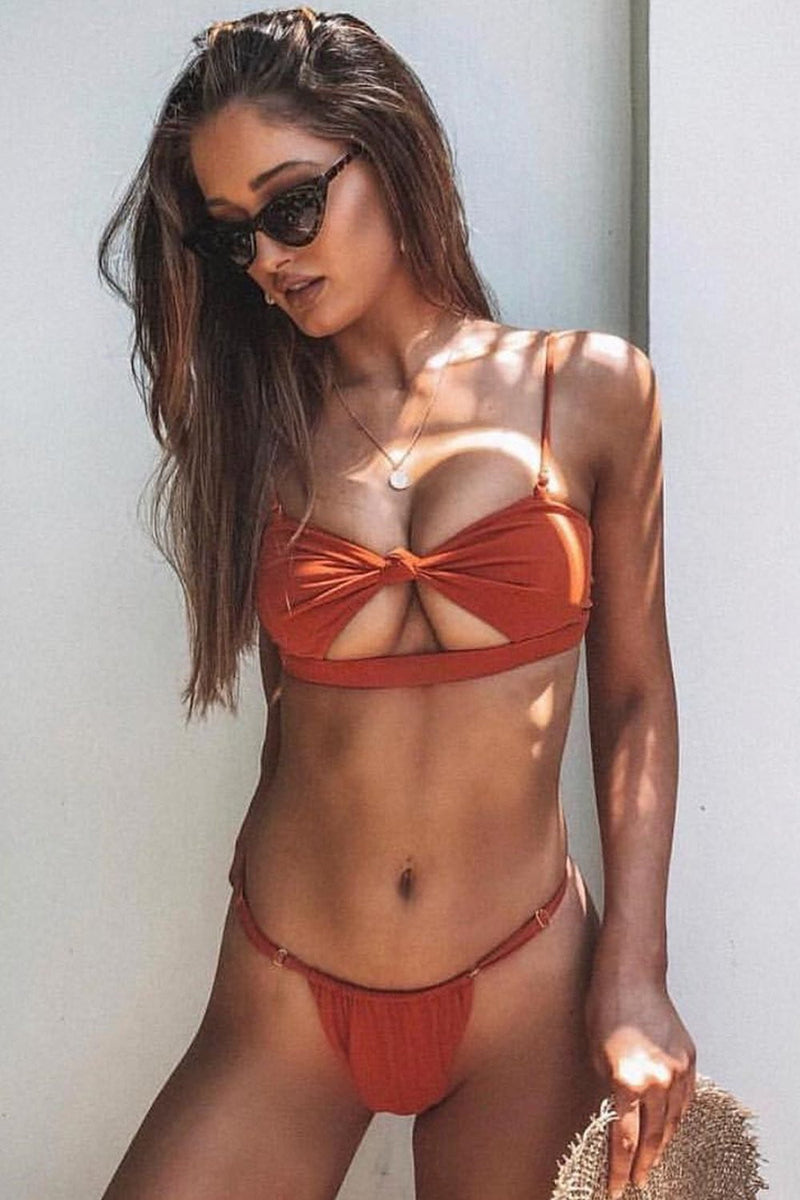 Rust Tie Front Cut Out Bandeau Bikini Top (2109400055867)