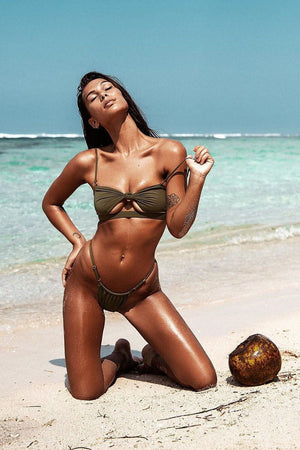 Military Green Tie Front Cut Out Bandeau Bikini Top