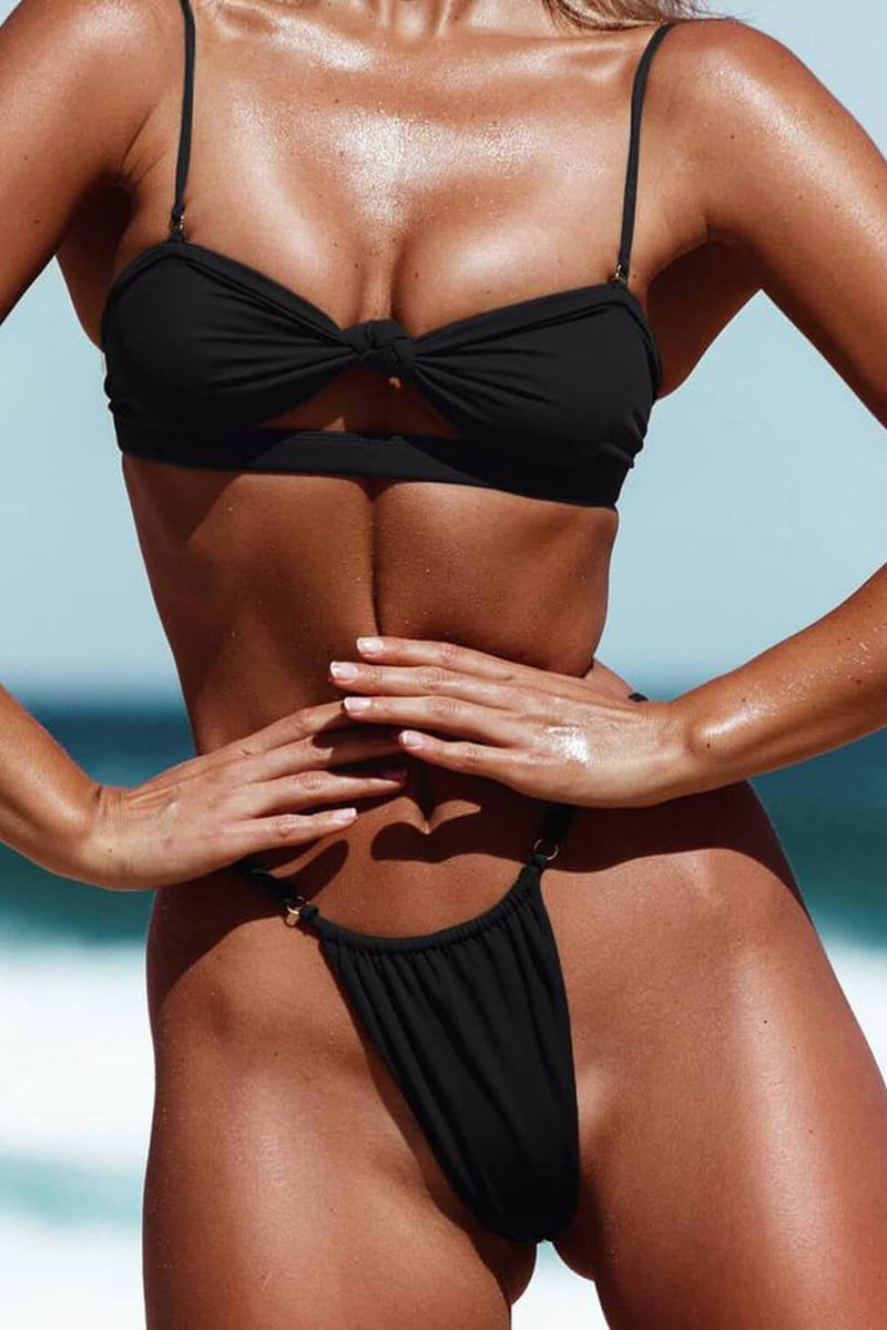 Black Tie Front Cut Out Bandeau Bikini Top