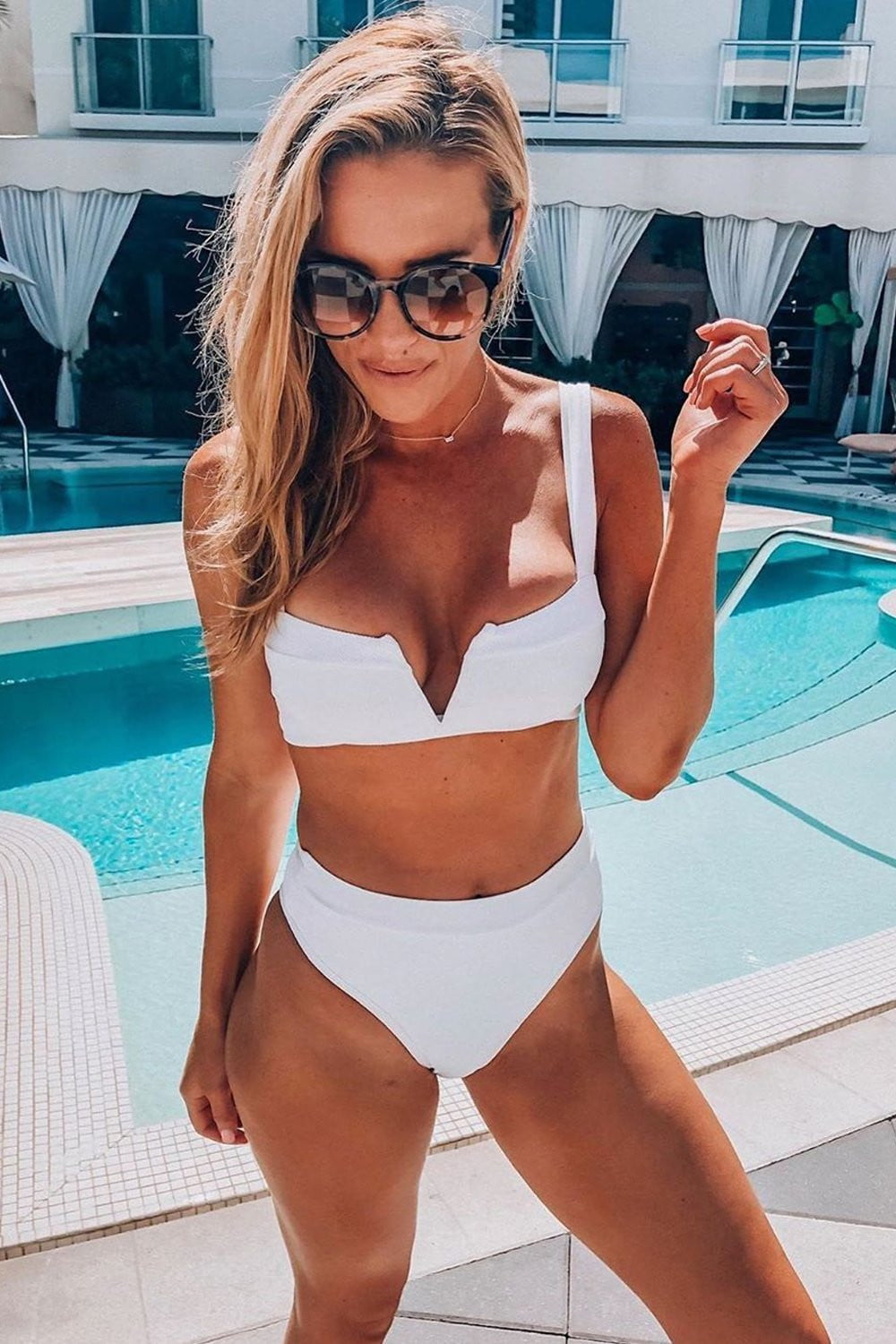 White Ribbed High Waist Bikini Bottoms (2109400580155)