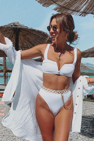 White Ribbed Front V Wire Bikini Top