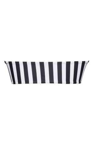 Black White Striped Bandeau Ring Bikini Top (2109400318011)