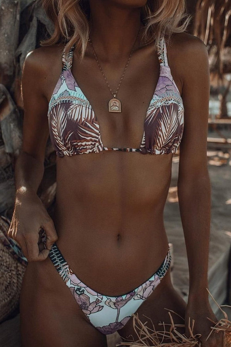 Tropical Print Triangle Bikini Top