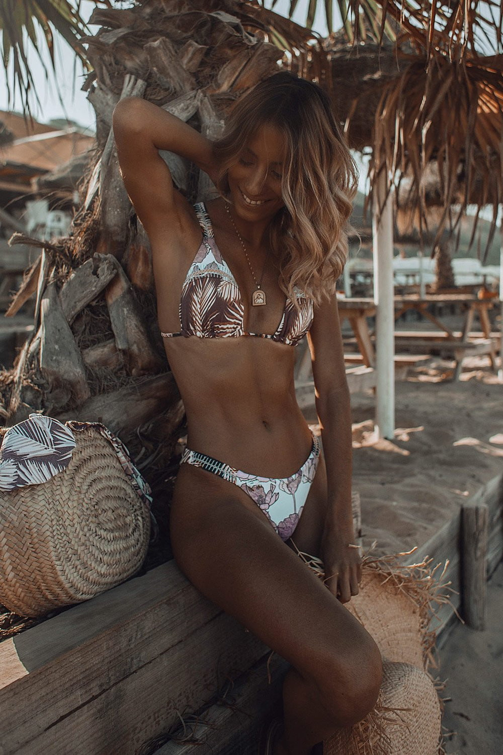 Tropical Print Triangle Bikini Top (2079026020411)