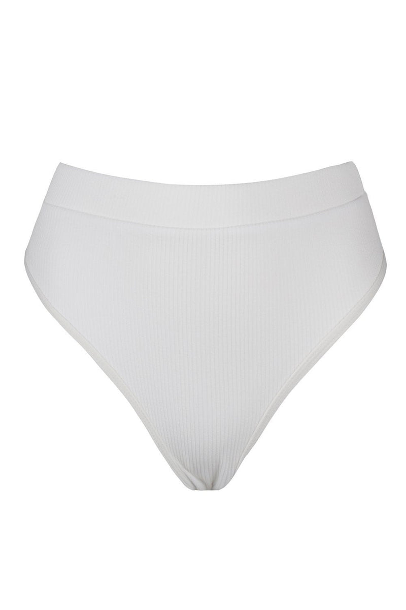 White Ribbed High Waist Bikini Bottoms