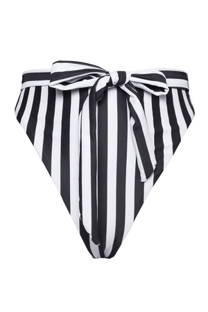 Black White Striped High Waist Belted Bikini Bottoms (2109400645691)