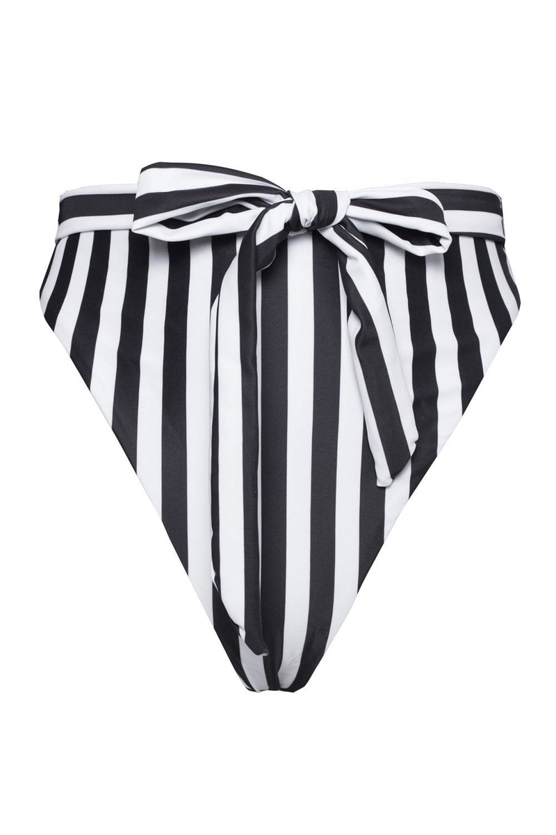 Black White Striped High Waist Belted Bikini Bottoms