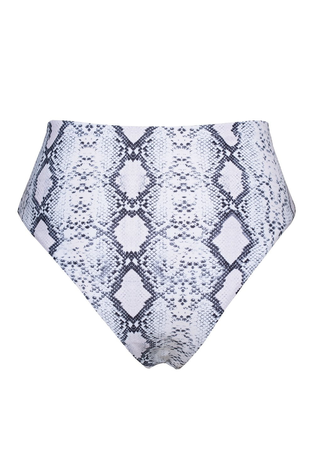 White Snakeskin High Waisted Bikini Bottoms