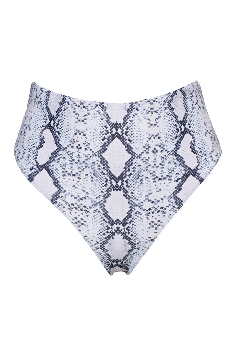 White Snakeskin High Waisted Bikini Bottoms (2079027429435)