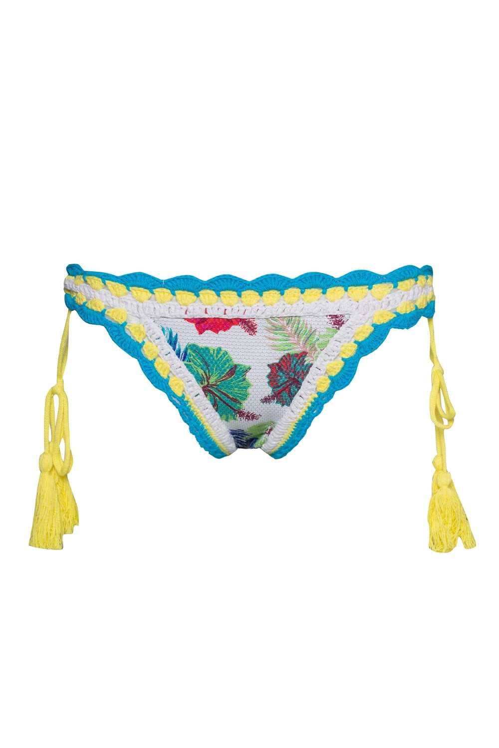 Floral Crochet Side Lace Up Bikini Bottoms (2079028117563)