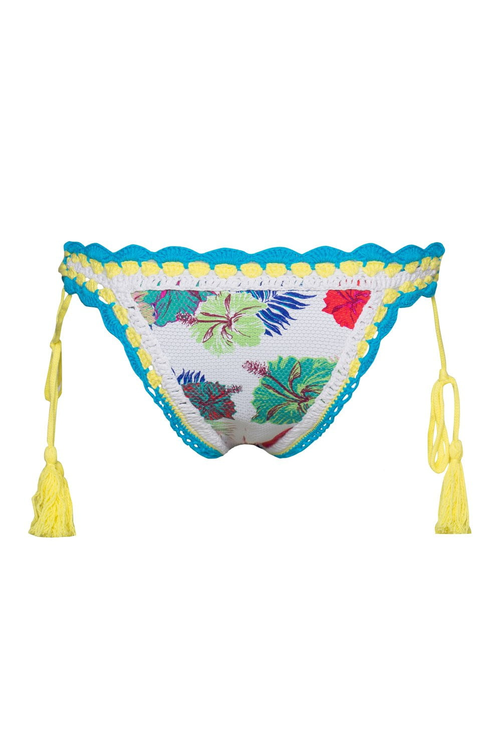 Floral Crochet Side Lace Up Bikini Bottoms