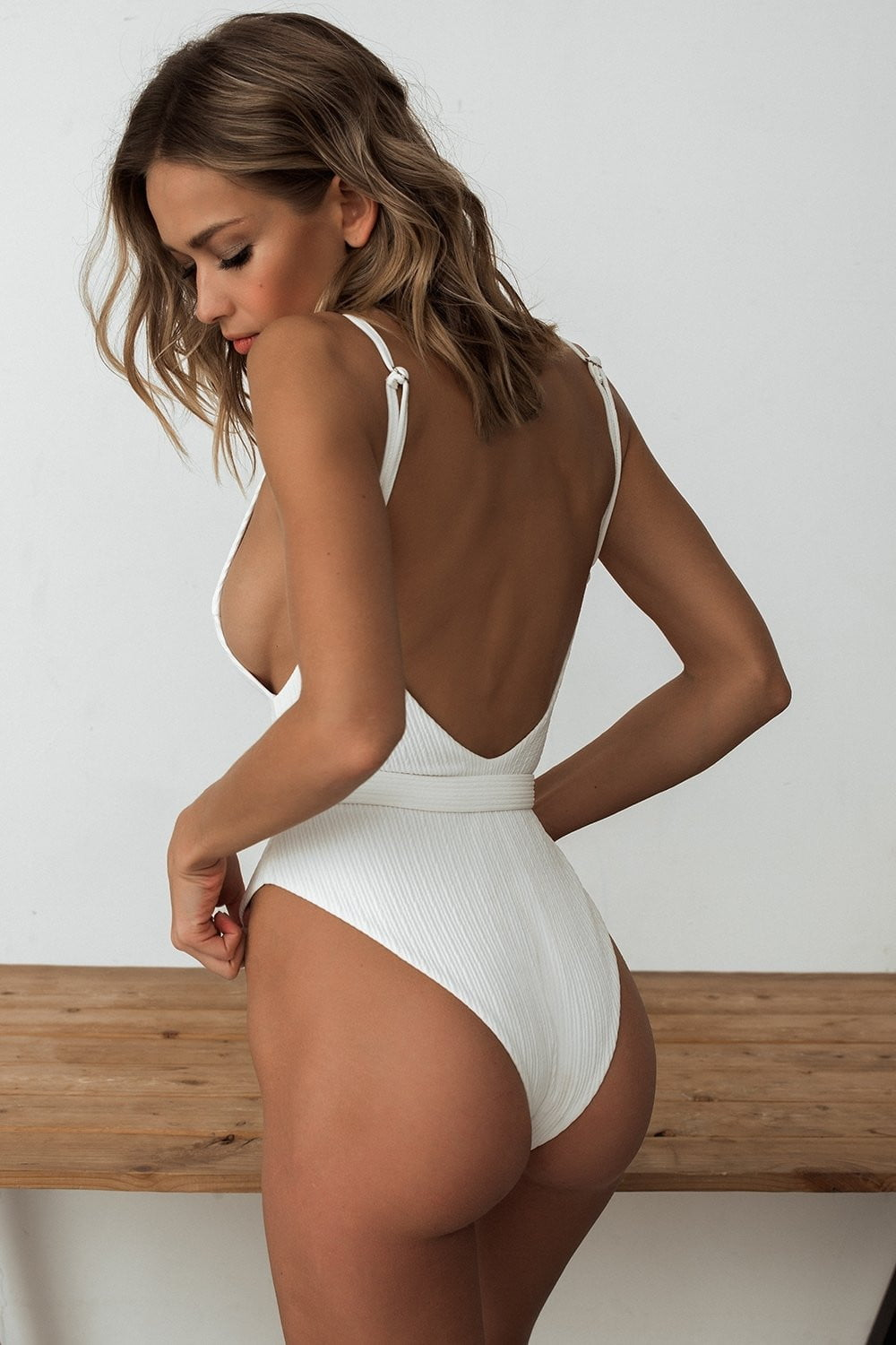 White V-neck Belted One Piece Swimsuit (2079028215867)
