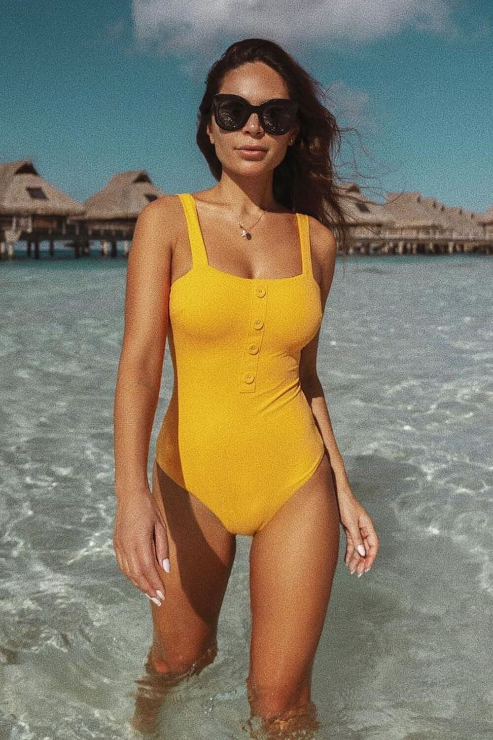 Mustard Scoop Neck Bikini One Piece Swimsuit
