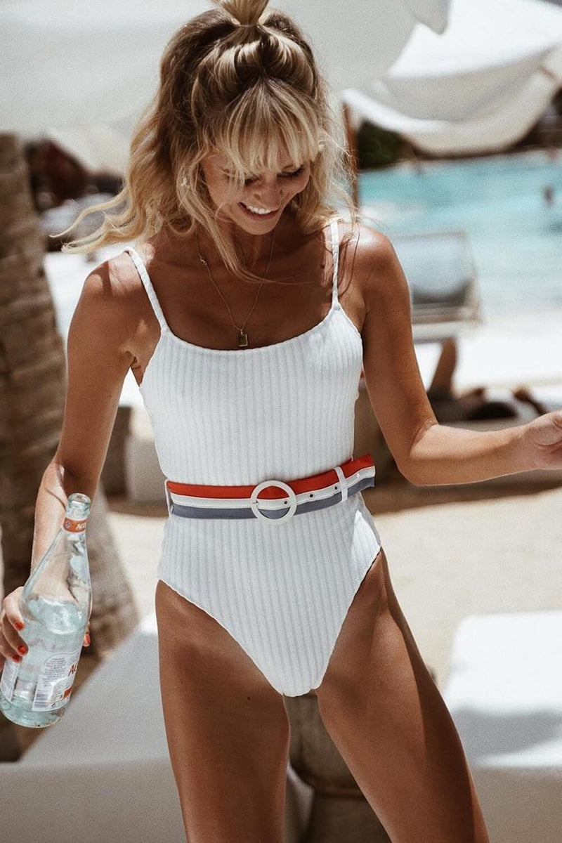 White Belted Ribbed One Piece Swimsuit