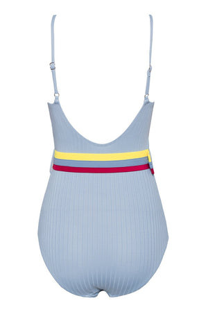 Light Blue Belted Ribbed One Piece Swimsuit (2079028510779)